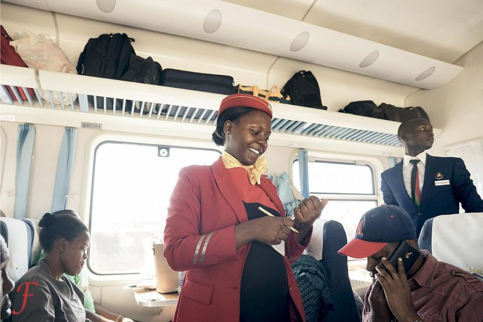 The Nairobi-Mombasa highspeed train stewardess